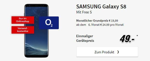 o2 Free S + Samsung Galaxy S8