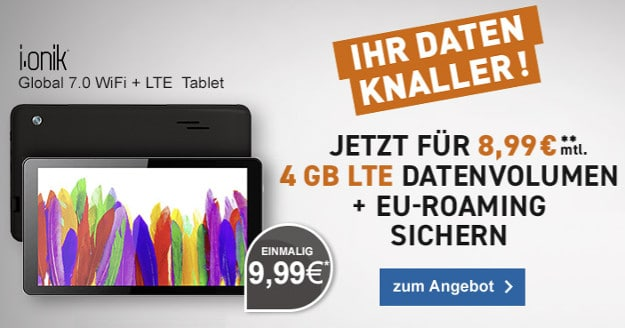 ionik tablet + 4 gb lte datentarif telekom-netz