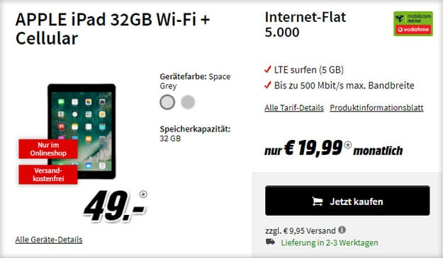 apple ipad 2017 vodafone datenflat md mit 5 gb lte. Black Bedroom Furniture Sets. Home Design Ideas