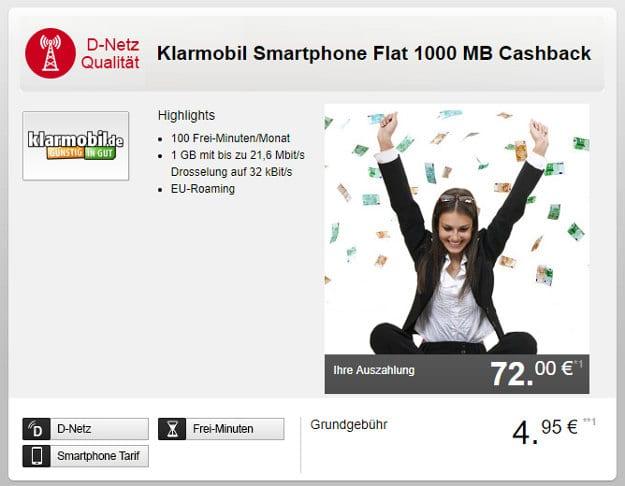 klarmobil Smartphone Flat 1000 mit Cashback