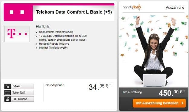 Telekom Data Comfort L Basic + 450 € Auszahlung bei Handyflash