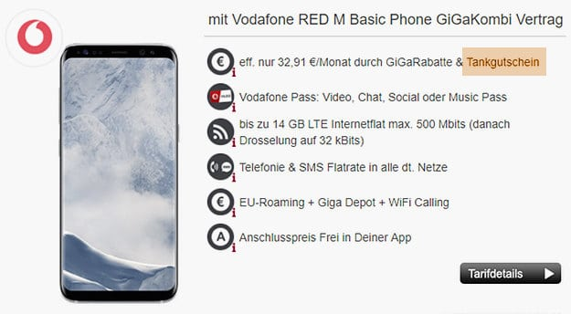 Galaxy S8 + Vodafone Red M GigaKombi