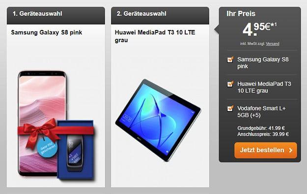 Samsung Galaxy S8 + Vodafone Smart L Plus Handyflash