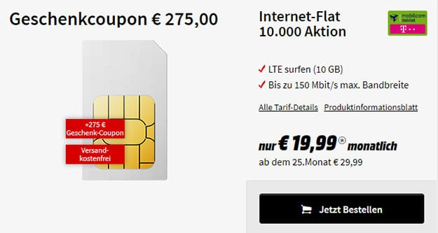 flat 10 gb mobilcom debitel