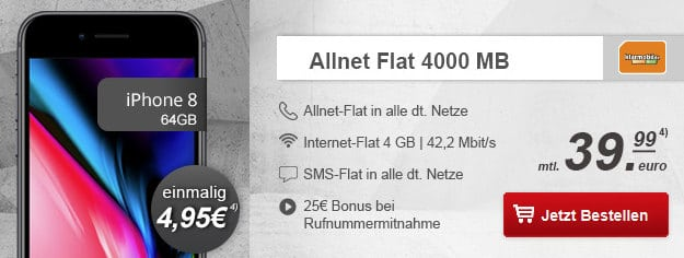 iPhone 8 + klarmobil Allnet-Flat Vodafone