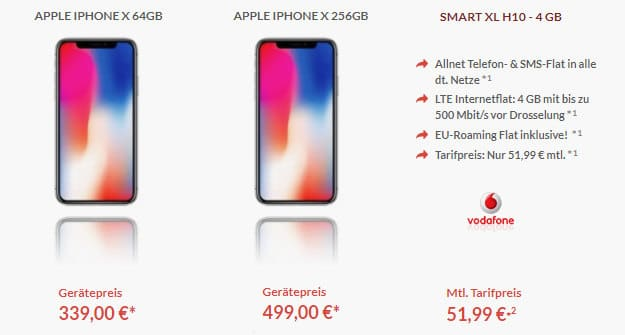 iPhone X + Vodafone Smart XL