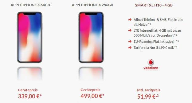 iPhone X + Vodafone Smart XL