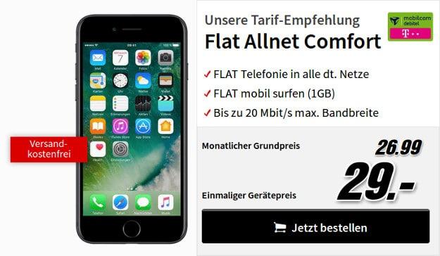 Apple iPhone 7 32GB + mobilcom-debitel Flat Allnet Comfort (Telekom-Netz) bei MediaMarkt