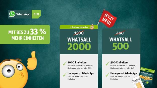 WhatsApp SIM mit 2000 Einheiten, 500 Einheiten, Prepaid-Tarif