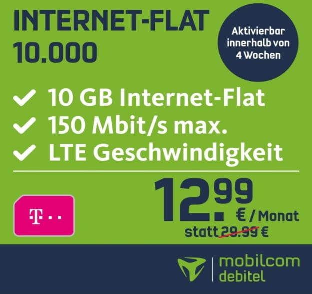 10 gb lte bei mobilcom debitel im telekom netz f r 13 99 mtl. Black Bedroom Furniture Sets. Home Design Ideas