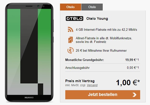 Huawei Mate 10 Lite + otelo Allnet-Flat M