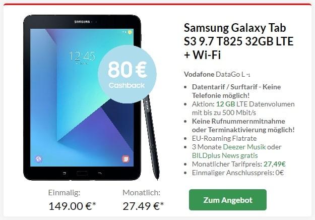 Samsung Galaxy Tab S3 LTE + Vodafone DataGo L bei Preisboerse24