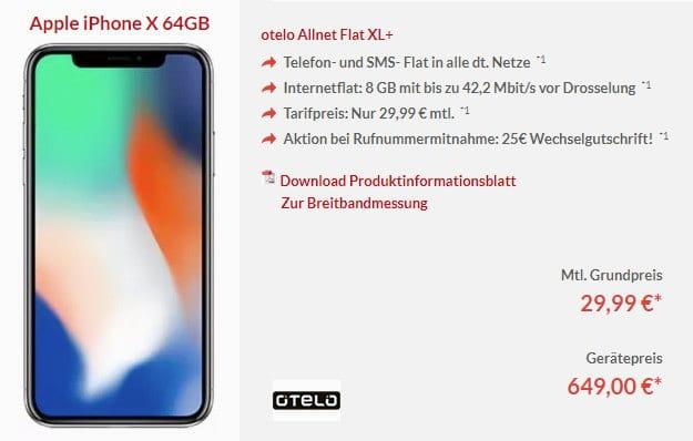 iPhone x + otelo Allnet-Flat XL