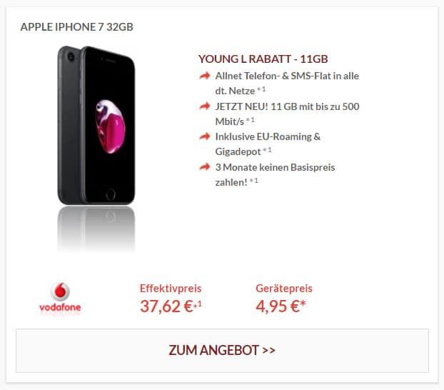 Apple iPhone 7 32GB mit Vodafone Young L + GigaKombi und Daten-Boost