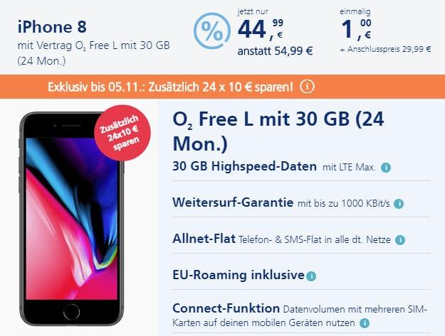 iPhone 8 für 1 € + o2 Free L
