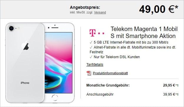 Apple iPhone 8 64GB + Telekom Magenta Mobil S mit MagentaEINS bei LogiTel