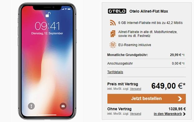Apple iPhone X mit otelo Allnet Flat Max