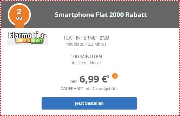 klarmobil Smartphone-Flat 2000 Vodafone