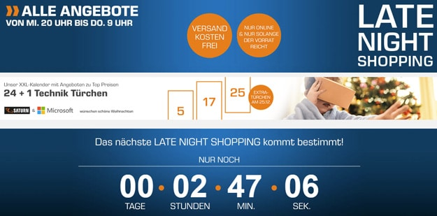 Saturn Late Night Shopping Aktion mit vielen Technik-Deals