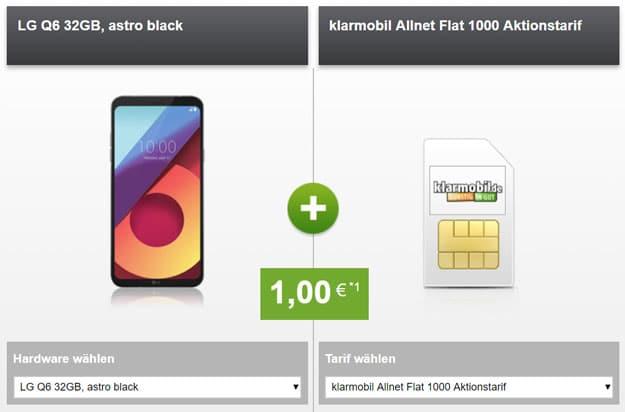 LG Q6 mit klarmobil Allnet-Flat 1000 im Telekom-Netz