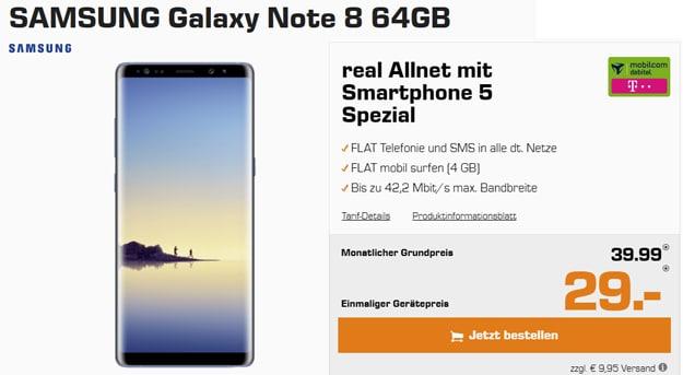 Samsung Galaxy Note 8 mit mobilcom-debitel real Allnet Telekom-Netz
