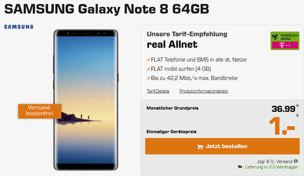 samsung galaxy note 8 real allnet telekom md
