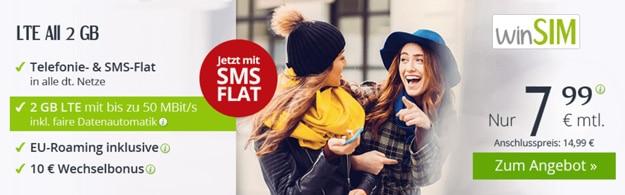 winSIM mit günstigen Allnet-Flats und Smartphone-Tarifen mit LTE
