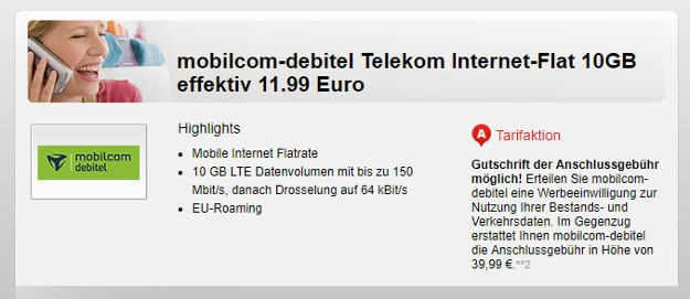 Internet-Flat 10000 Telekom Handyflash