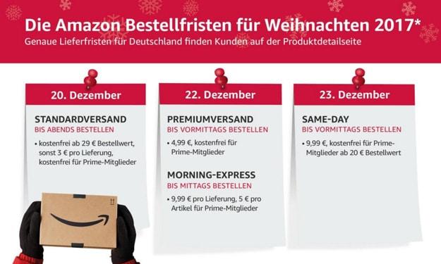 Amazon Bestellfristen, verlängerte Rückgabefristen zu Weihnachten 2017