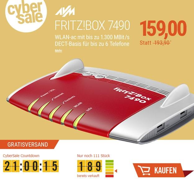 Cyber Sale FRITZ!Box 7490 für 159 € bei Cyberport