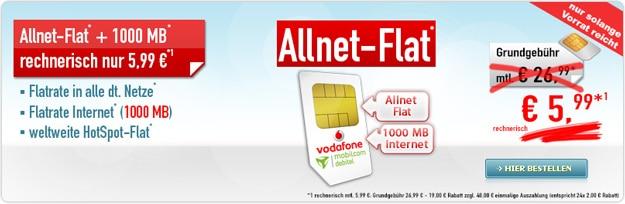 Vodafone Allnet Flat mit Hotspot-Flat bei Handybude