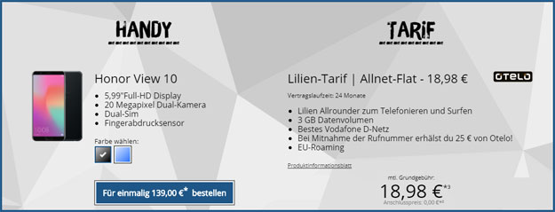 honor view 10 otelo lilien-tarif