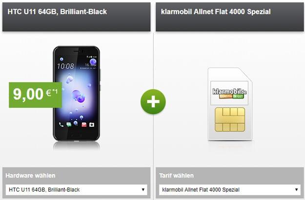 HTC U11 mit Klarmobil Allnet-Flat 4000