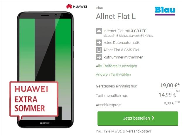 Huawei Mate 10 Lite + Blau Allnet Flat L bei DeinHandy