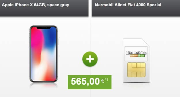 Apple iPhone X mit Klarmobil Allnet Flat 40000