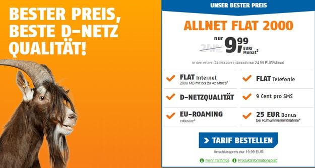 klarmobil Allnet-Flat 2000 im Telekom-Netz