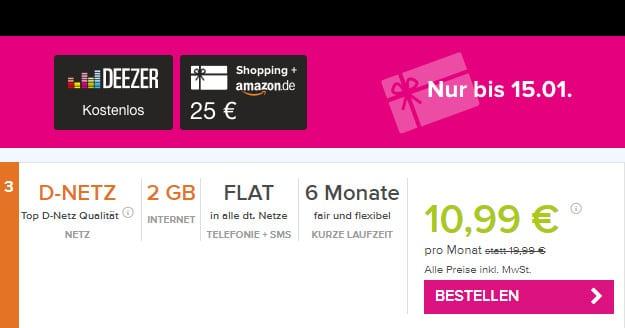 klarmobil Allnet-Flat 2000 im Vodafone-Netz