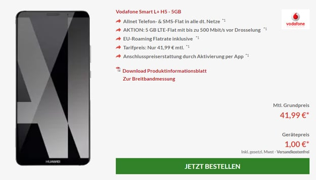 Huawei Mate 10 Pro mit Vodafone Smart L Plus