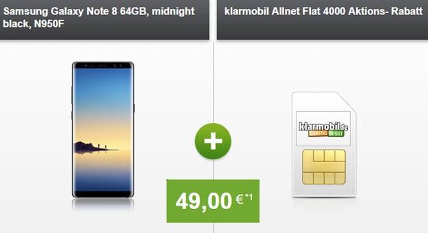 Samsung Galaxy Note 8 mit klamrobil Allnet Flat 4000