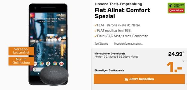 Google Pixel 2 mit Google Home Mini und Vodafone-Tarif Allnet Flat