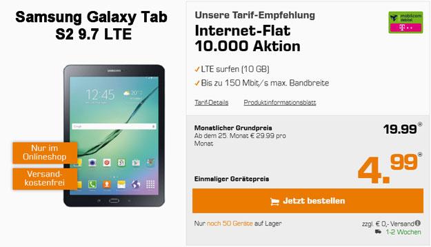 Samsung Galaxy Tab S2 9.7 LTE mit Internet-Flat 10 000 md im Telekom-Netz