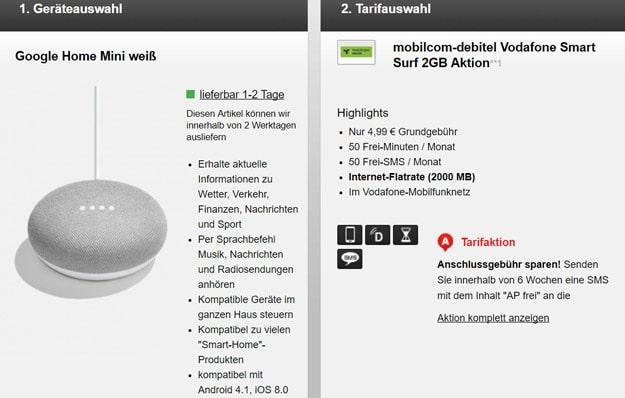 mobilcom-debitel Smart Surf Vodafone mit Google Home Mini