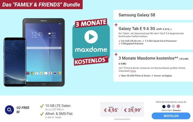 Samsung Galaxy S8 mit Galaxy Tab E 9.6, 3 Monate kostenlos maxdome und o2 Free M