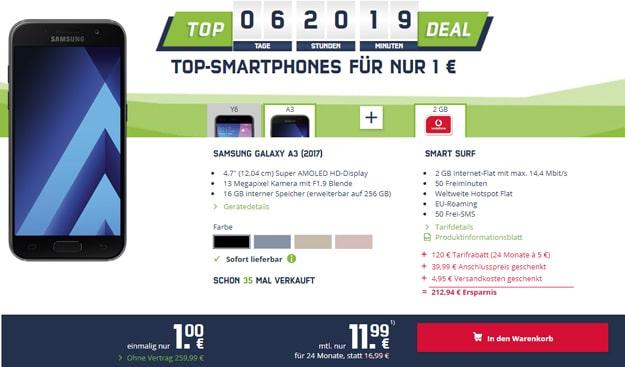 Samsung Galaxy A3 2017 mit Vodafone Smart Surf für 11,99 € pro Monat