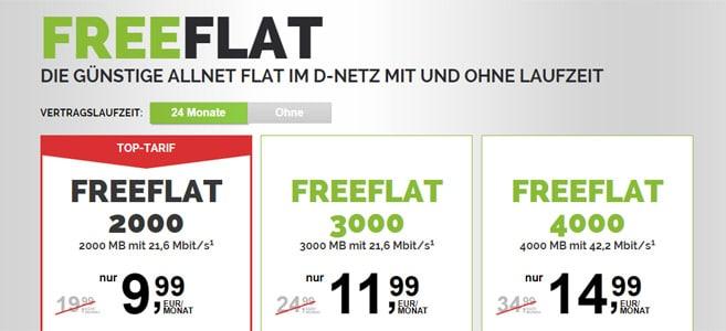 freeflat Allnet-Flats ab 9,99 € pro Monat