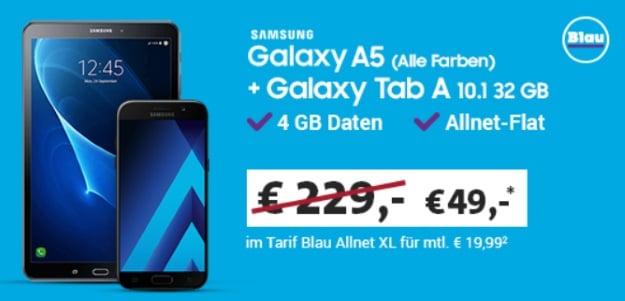Samsung Galaxy A5 (2017) + Samsung Galaxy Tab A 10.1 LTE mit Blau Allnet XL bei Sparhandy
