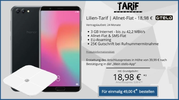 Honor View 10 mit otelo Lilien-Tarif und Honor Scale AH100 bei Tophandy