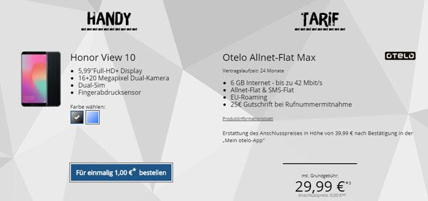 Honor View 10 + otelo Allnet-Flat Max