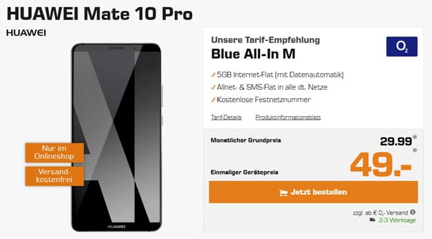 huawei mate 10 pro o2 blue all-in m