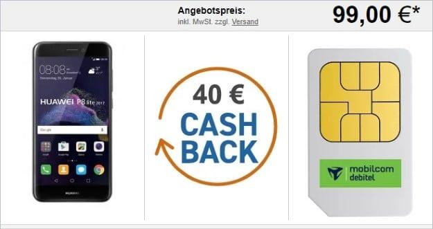 Huawei P8 lite (2017) + 40 € Cashback + Telefónica Smart Surf bei LogiTel